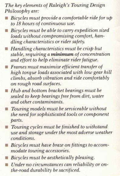 key elements of Raleigh's touring design philosophy, c 1984, USA