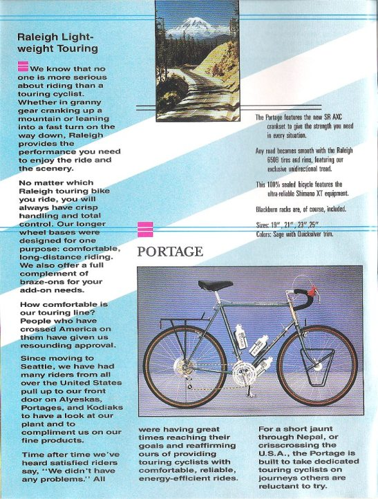 1986 Raleigh Product Catalog: Portage